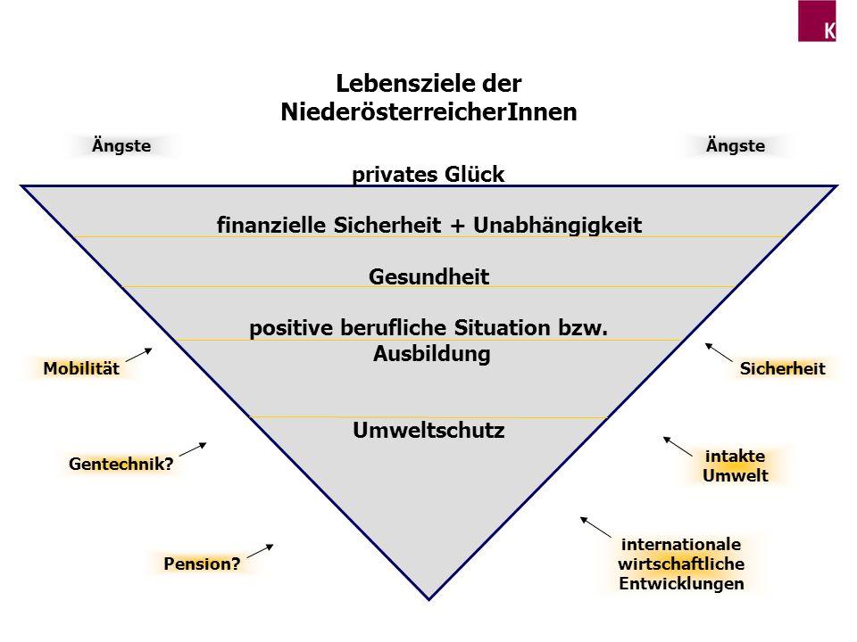 Lebensziele der NiederösterreicherInnen privates Glück finanzielle Sicherheit + Unabhängigkeit Gesundheit positive berufliche Situation bzw. Ausbildun