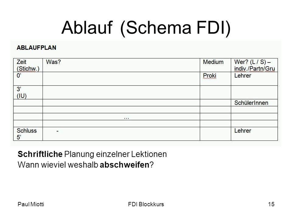 Paul MiottiFDI Blockkurs15 Ablauf(Schema FDI) Schriftliche Planung einzelner Lektionen Wann wieviel weshalb abschweifen?
