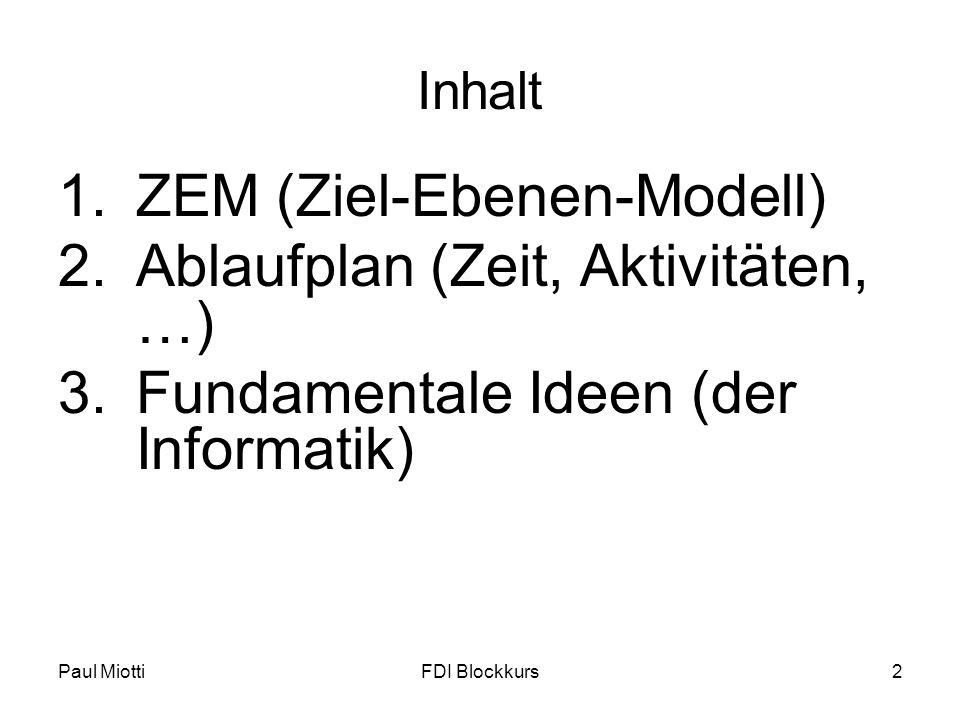 Paul MiottiFDI Blockkurs2 Inhalt 1.ZEM (Ziel-Ebenen-Modell) 2.Ablaufplan (Zeit, Aktivitäten, …) 3.Fundamentale Ideen (der Informatik)