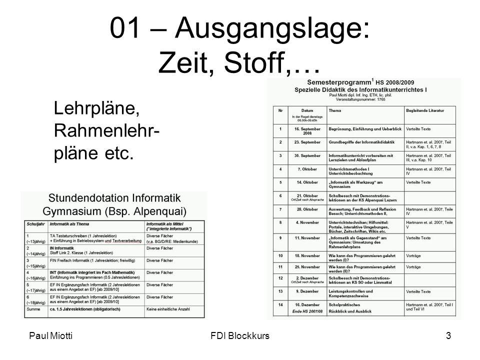 Paul MiottiFDI Blockkurs14 Standardablauf und Informatik.