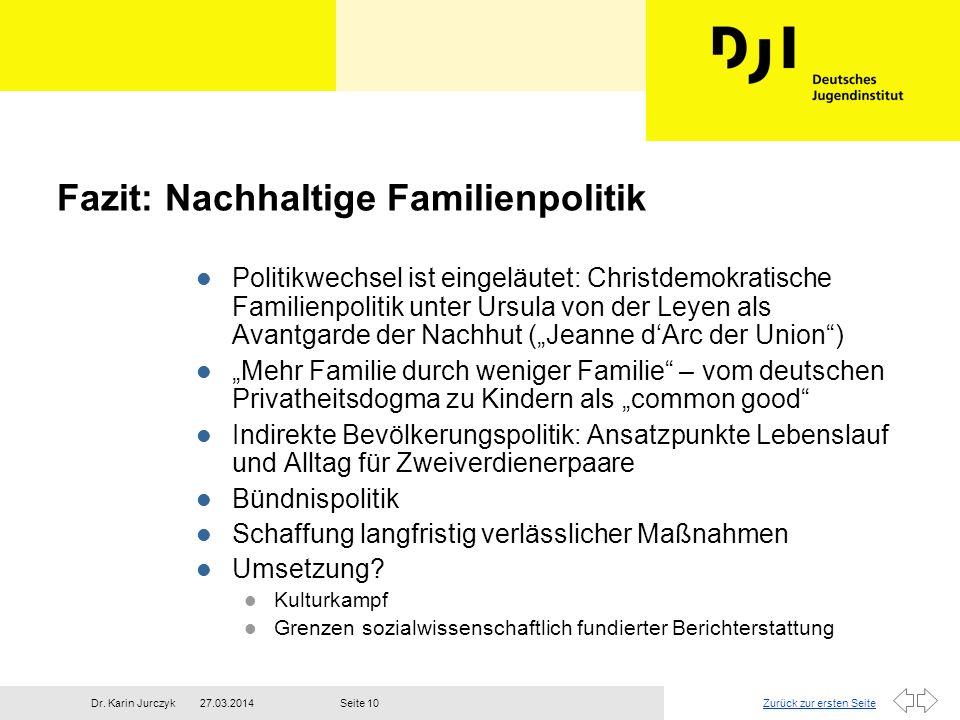 Zurück zur ersten Seite27.03.2014Dr. Karin JurczykSeite 10 Fazit: Nachhaltige Familienpolitik l Politikwechsel ist eingeläutet: Christdemokratische Fa