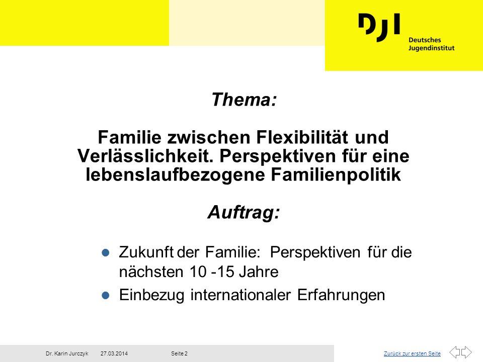 Zurück zur ersten Seite27.03.2014Dr. Karin JurczykSeite 2 Thema: Familie zwischen Flexibilität und Verlässlichkeit. Perspektiven für eine lebenslaufbe
