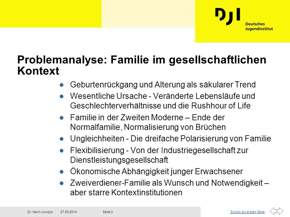 Zurück zur ersten Seite27.03.2014Dr. Karin JurczykSeite 3 Problemanalyse: Familie im gesellschaftlichen Kontext l Geburtenrückgang und Alterung als sä