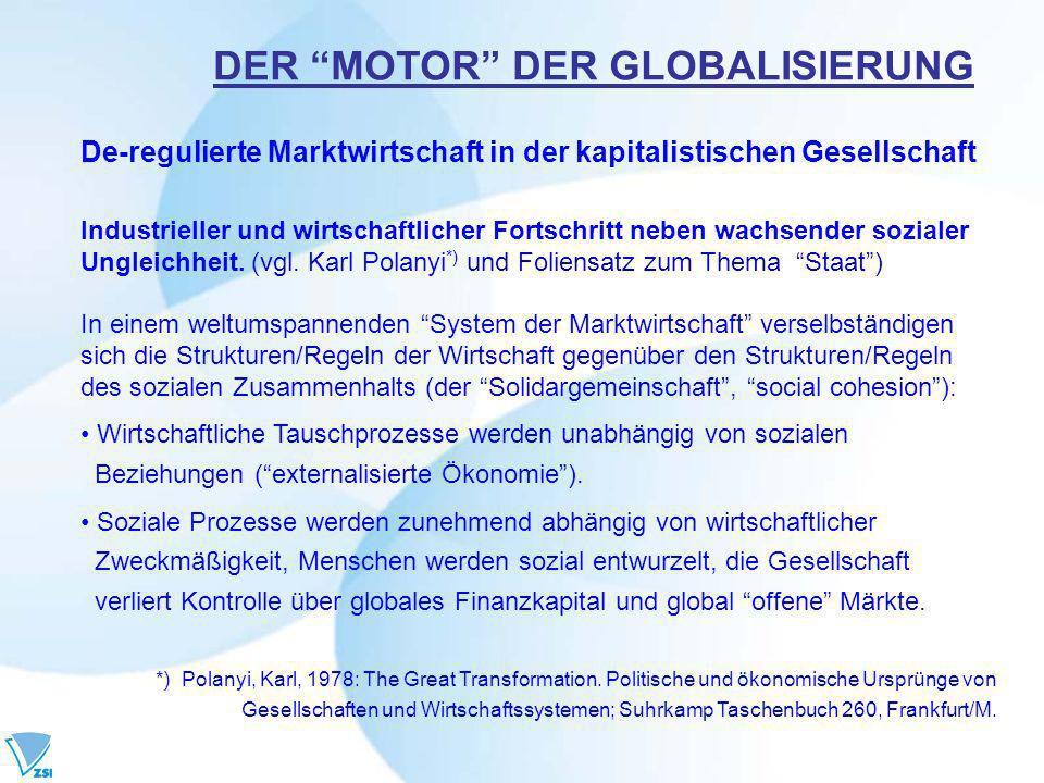 De-regulierte Marktwirtschaft in der kapitalistischen Gesellschaft Industrieller und wirtschaftlicher Fortschritt neben wachsender sozialer Ungleichheit.