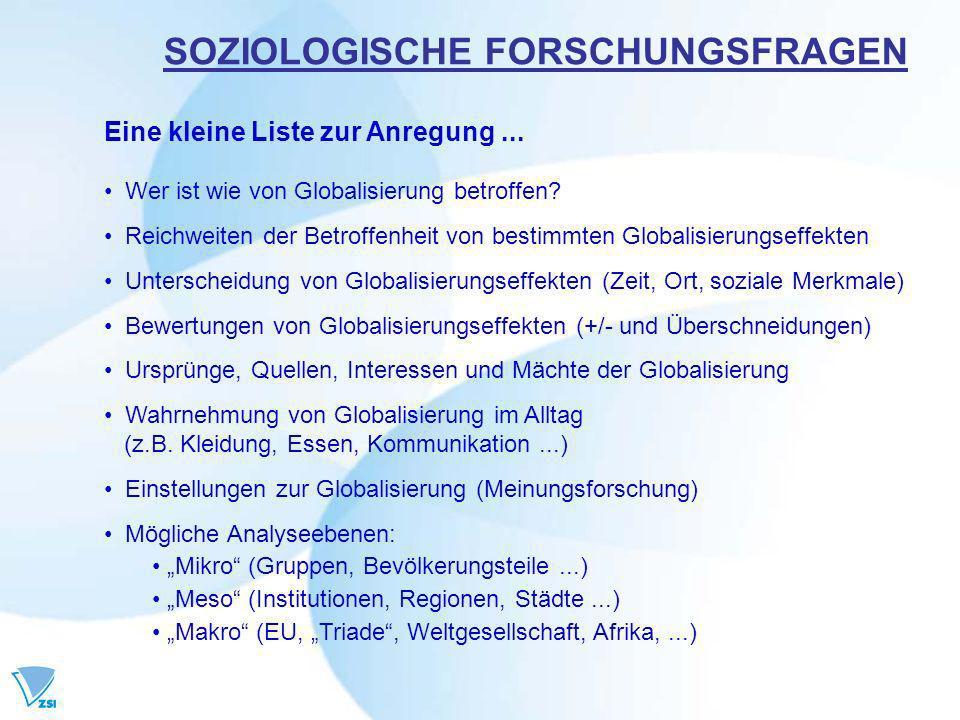 SOZIOLOGISCHE FORSCHUNGSFRAGEN Eine kleine Liste zur Anregung...