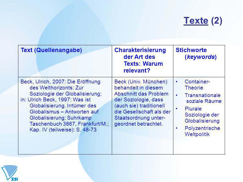 Texte (2) Text (Quellenangabe)Charakterisierung der Art des Texts: Warum relevant.