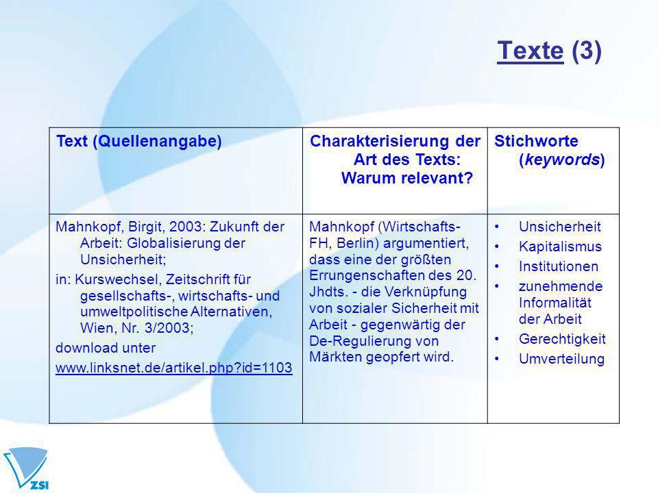 Texte (3) Text (Quellenangabe)Charakterisierung der Art des Texts: Warum relevant.