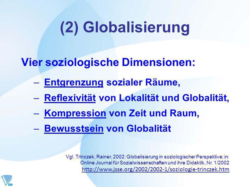(2) Globalisierung Vier soziologische Dimensionen: – Entgrenzung sozialer Räume, – Reflexivität von Lokalität und Globalität, – Kompression von Zeit und Raum, – Bewusstsein von Globalität Vgl.