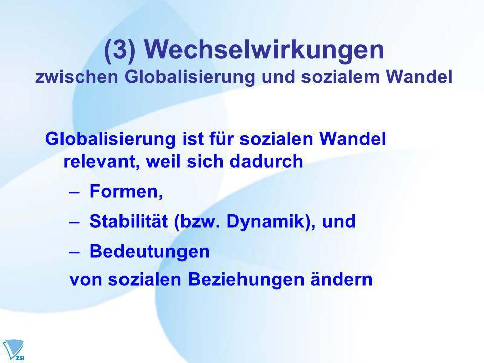 (3) Wechselwirkungen zwischen Globalisierung und sozialem Wandel Globalisierung ist für sozialen Wandel relevant, weil sich dadurch – Formen, – Stabilität (bzw.