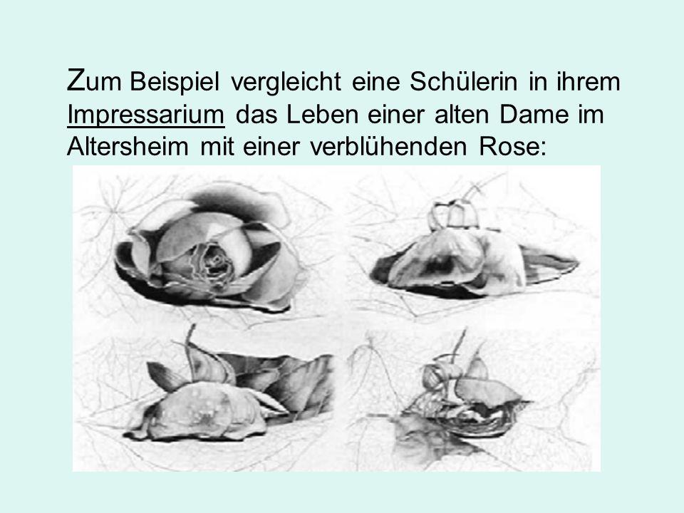 Z um Beispiel vergleicht eine Schülerin in ihrem Impressarium das Leben einer alten Dame im Altersheim mit einer verblühenden Rose: