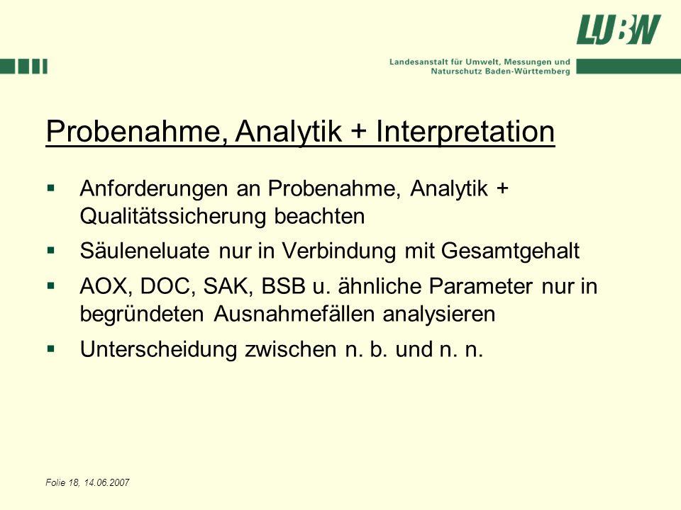 Folie 18, 14.06.2007 Probenahme, Analytik + Interpretation Anforderungen an Probenahme, Analytik + Qualitätssicherung beachten Säuleneluate nur in Ver