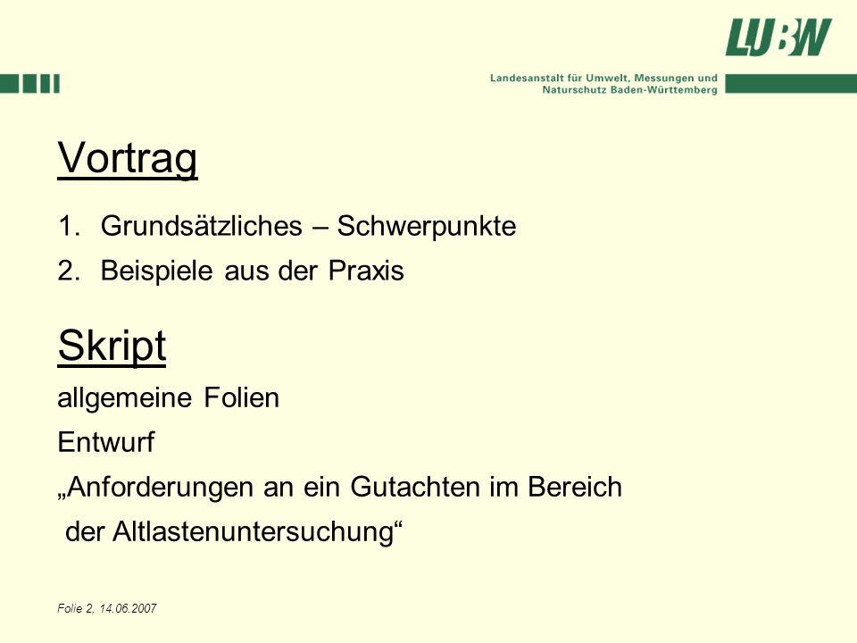 Folie 2, 14.06.2007 Vortrag 1.Grundsätzliches – Schwerpunkte 2.Beispiele aus der Praxis Skript allgemeine Folien Entwurf Anforderungen an ein Gutachte