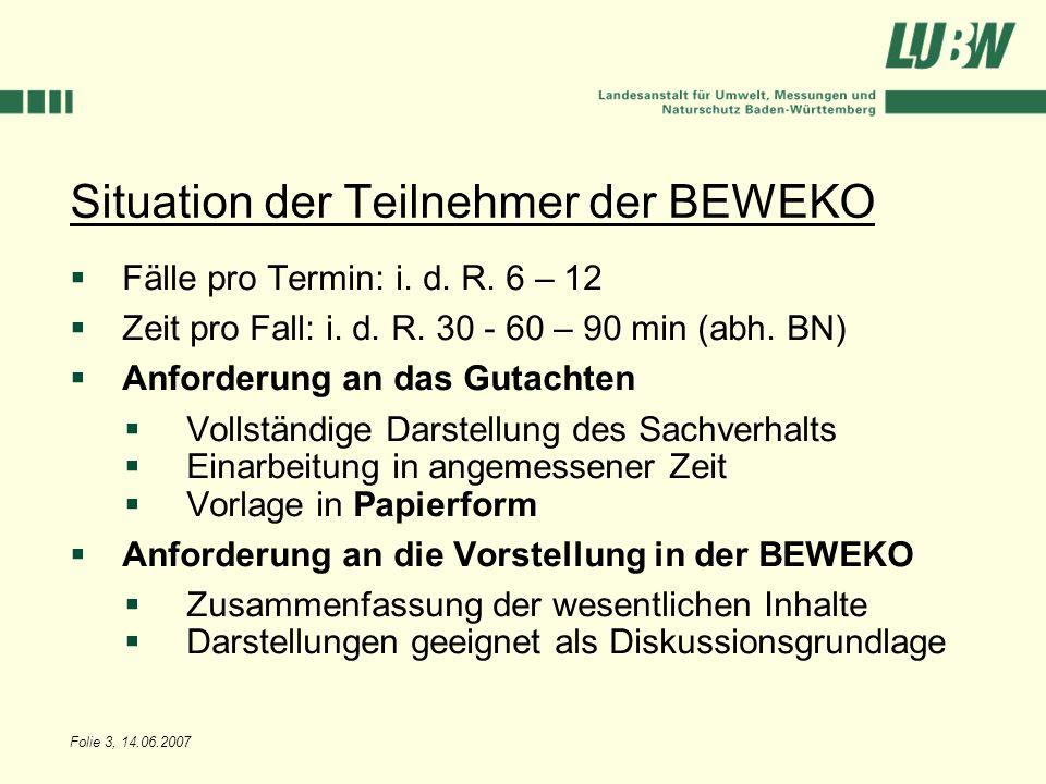 Folie 3, 14.06.2007 Situation der Teilnehmer der BEWEKO Fälle pro Termin: i. d. R. 6 – 12 Zeit pro Fall: i. d. R. 30 - 60 – 90 min (abh. BN) Anforderu