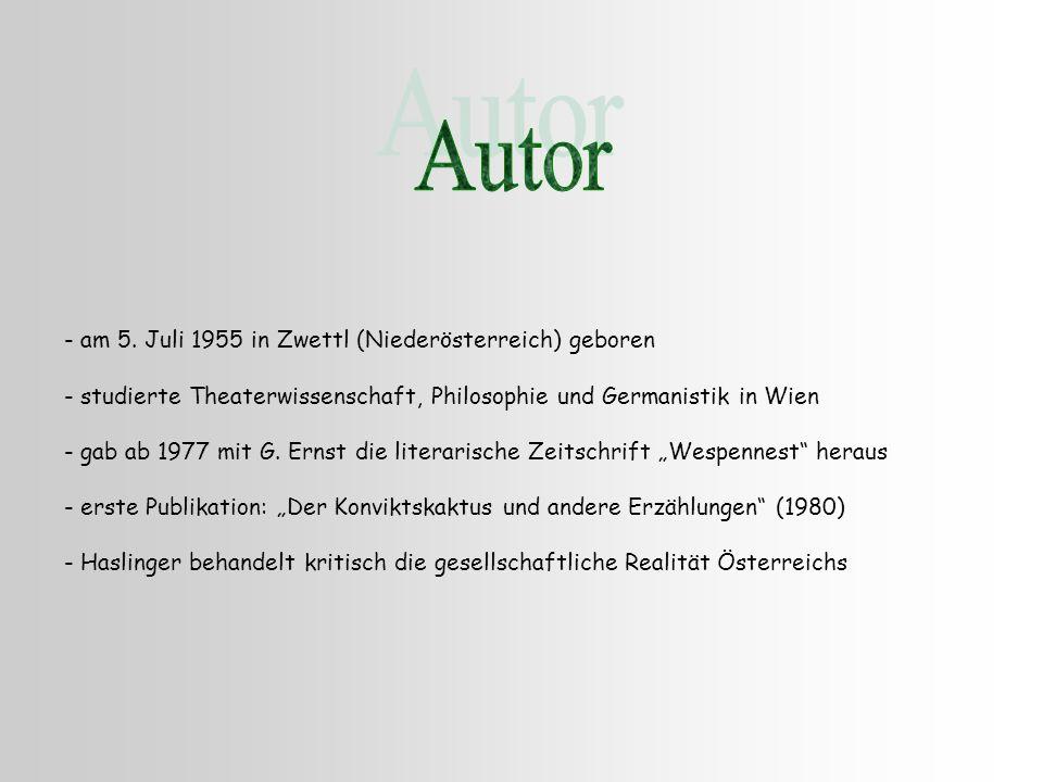 - am 5. Juli 1955 in Zwettl (Niederösterreich) geboren - studierte Theaterwissenschaft, Philosophie und Germanistik in Wien - gab ab 1977 mit G. Ernst