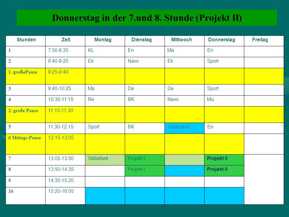 Donnerstag in der 7.und 8. Stunde (Projekt II) Stunden Zeit Montag Dienstag Mittwoch Donnerstag Freitag 1 7:50-8:35KLEnMaEn 2 8:40-9:25EkNawiEkSport 1