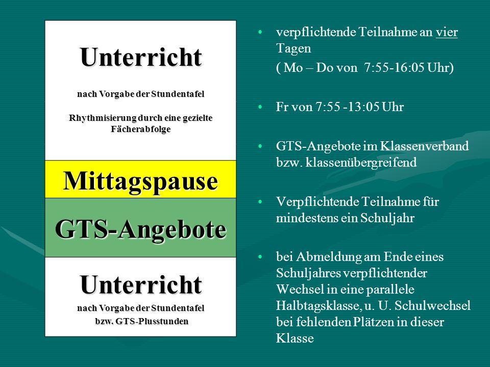 verpflichtende Teilnahme an vier Tagen ( Mo – Do von 7:55-16:05 Uhr) Fr von 7:55 -13:05 Uhr GTS-Angebote im Klassenverband bzw. klassenübergreifend Ve