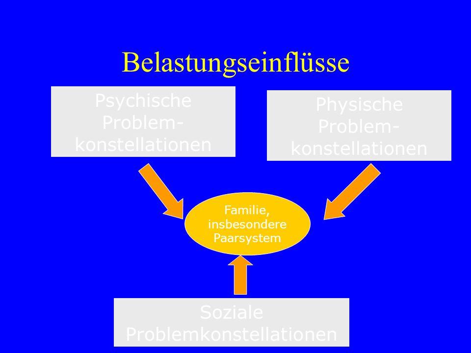 Belastungseinflüsse Psychische Problem- konstellationen Soziale Problemkonstellationen Familie, insbesondere Paarsystem Physische Problem- konstellati