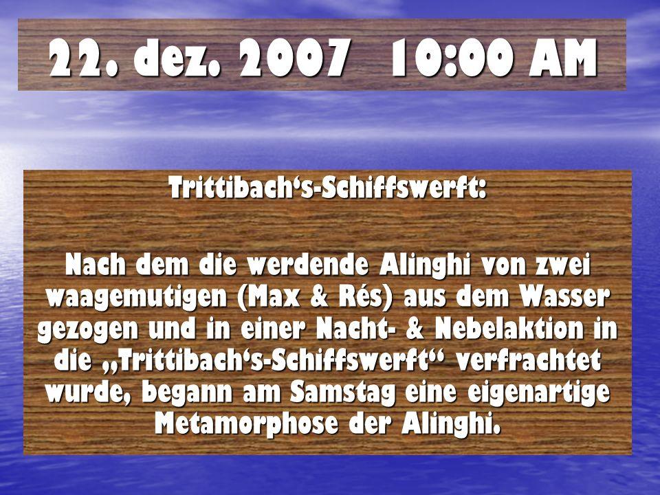 22. dez. 2007 10:00 AM Trittibachs-Schiffswerft: Nach dem die werdende Alinghi von zwei waagemutigen (Max & Rés) aus dem Wasser gezogen und in einer N