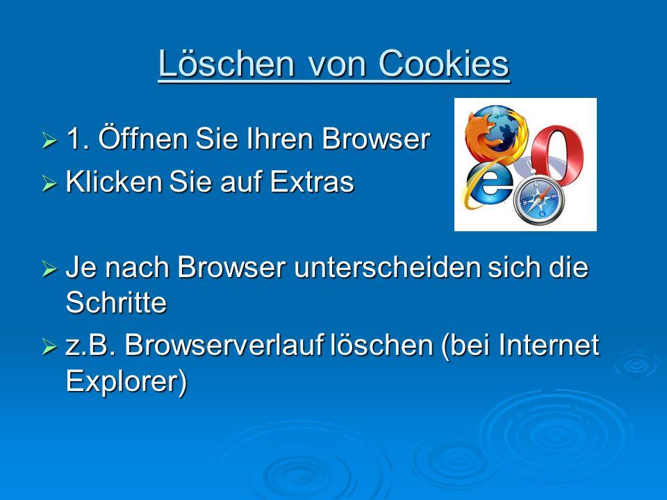 Löschen von Cookies 1. Öffnen Sie Ihren Browser 1.