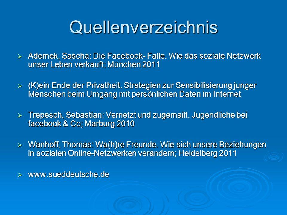 Quellenverzeichnis Ademek, Sascha: Die Facebook- Falle.