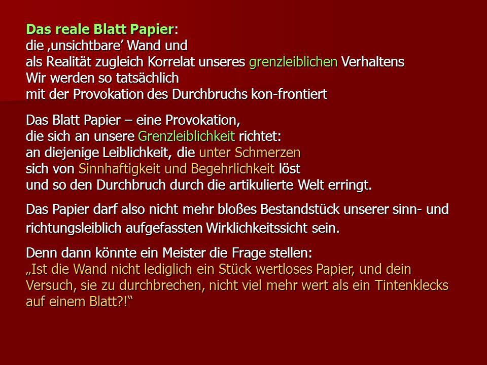 Das reale Blatt Papier Das reale Blatt Papier: die unsichtbare Wand und als Realität zugleich Korrelat unseres grenzleiblichen Verhaltens Wir werden s