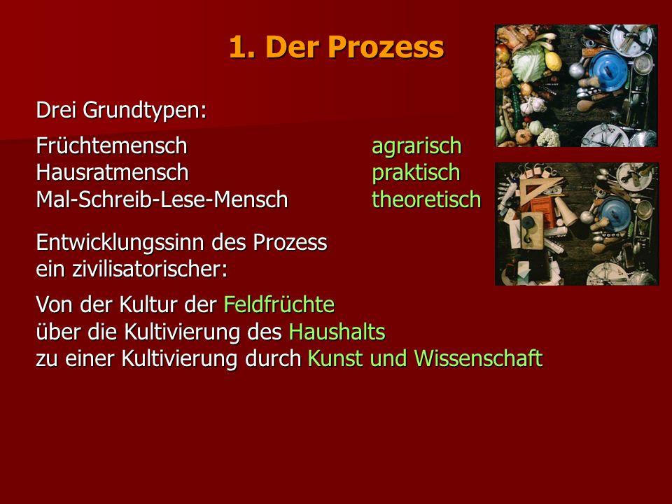 1. Der Prozess Drei Grundtypen: Früchtemensch agrarisch Hausratmenschpraktisch Mal-Schreib-Lese-Menschtheoretisch Entwicklungssinn des Prozess ein ziv