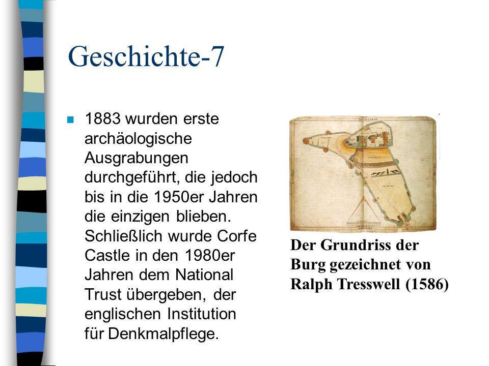 Geschichte-8 n Denkmalpfleger sorgten dafür, dass die Verließe 2006 wiederinstandgesetzt wurden, so dass man sie seit der Wiedereröffnung für Besucher 2008 zusammen mit dem inneren Burghof und den Mauern besichtigen kann.