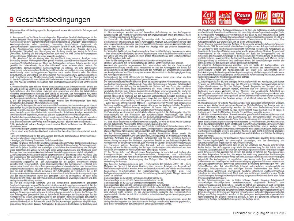 9 Geschäftsbedingungen Preisliste Nr. 2, gültig ab 01.01.2012