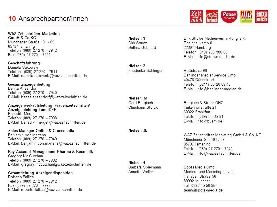 10 Ansprechpartner/Innen WAZ Zeitschriften Marketing GmbH & Co.KG Münchener Straße 101 / 09 85737 Ismaning Telefon: (089) 27 270 – 7942 Fax: (089) 27