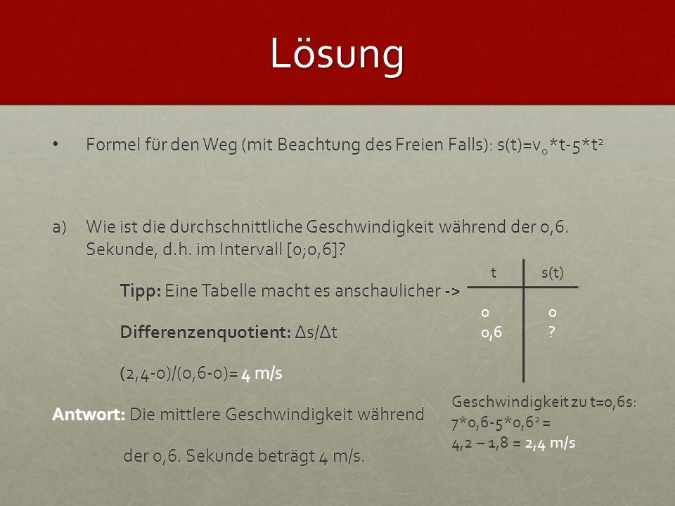 Lösung b)Wie ist die Geschwindigkeit bei t=0,3s.