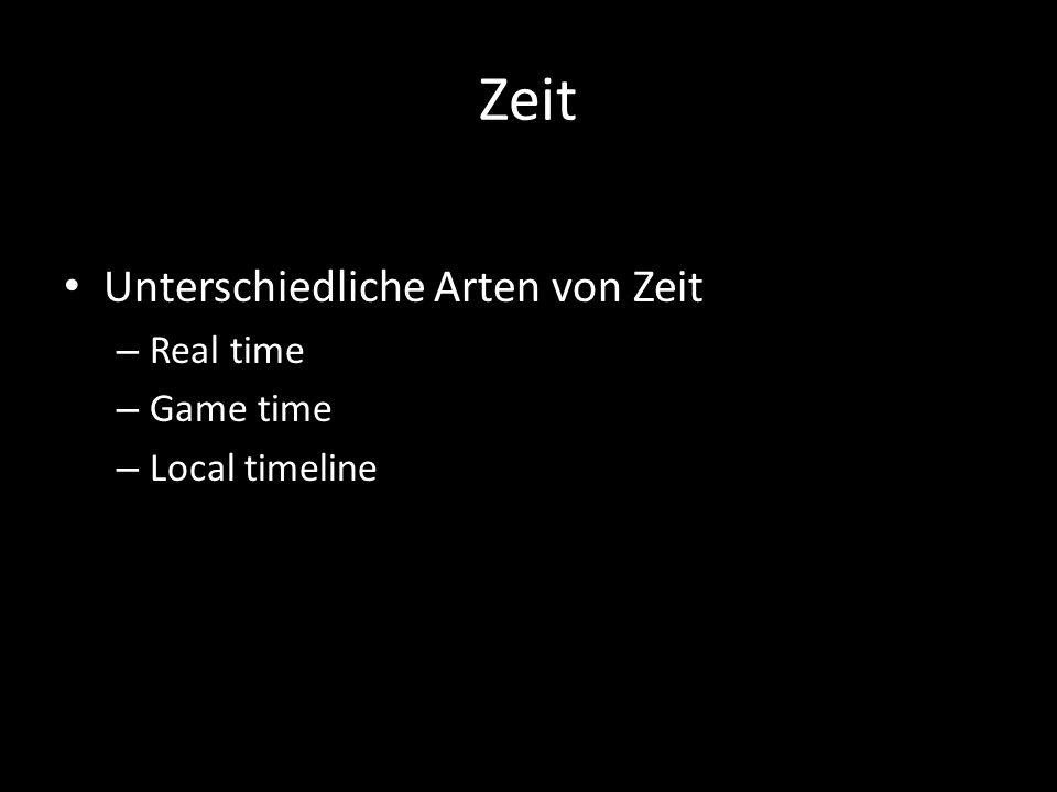 Zeit Unterschiedliche Arten von Zeit – Real time – Game time – Local timeline
