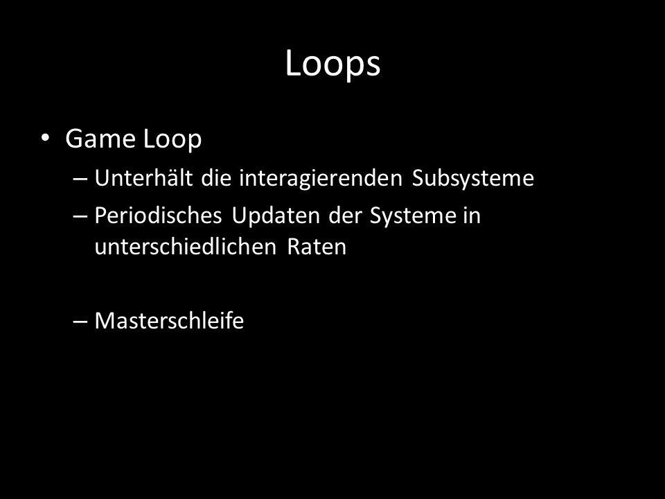 Loops Game Loop – Unterhält die interagierenden Subsysteme – Periodisches Updaten der Systeme in unterschiedlichen Raten – Masterschleife