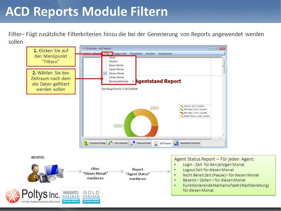 ACD Reports Module Filtern 2. Wählen Sie den Zeitraum nach dem die Daten gefiltert werden sollen 1. Klicken Sie auf den Menüpunkt Filtern Filter– Fügt