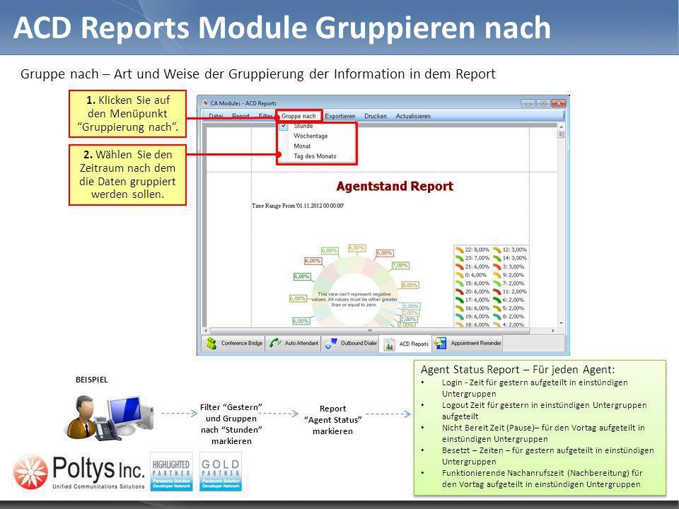 Gruppe nach – Art und Weise der Gruppierung der Information in dem Report ACD Reports Module Gruppieren nach 2. Wählen Sie den Zeitraum nach dem die D