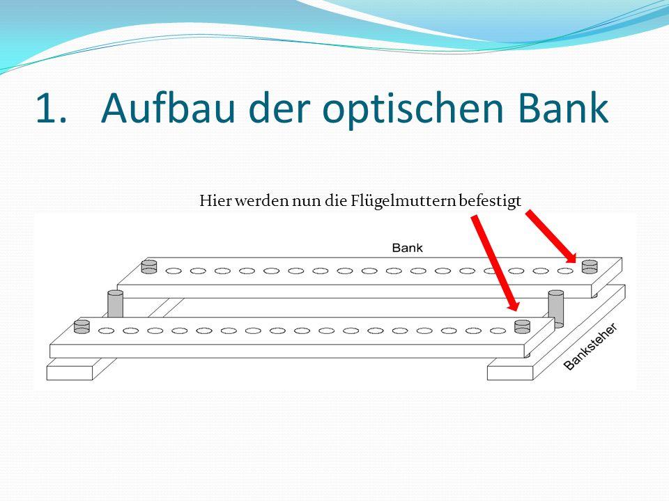 2.Befestigung der Module Benötigt: 1xFertig aufgebaute optische Bank 1xSolarlift 2xDoppeltes Solarmodul 2xLampenmodul