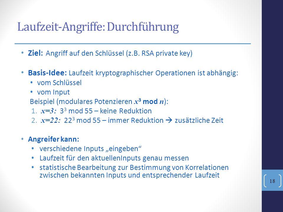 Ziel: Angriff auf den Schlüssel (z.B. RSA private key) Basis-Idee: Laufzeit kryptographischer Operationen ist abhängig: vom Schlüssel vom Input Beispi