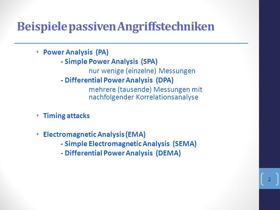 DPA Angriffsziel: meistens symmetrische Krypto-Algorithmen: AES und DES, aber auch asymmetrische: RSA und ECC Basis-Idee: -Stromverbrauch ist von Schlüssel und von Input abhängig -Korrelationen zwischen Inputs- und Mess-Werten des Stromverbrauches können hergestellt werden.