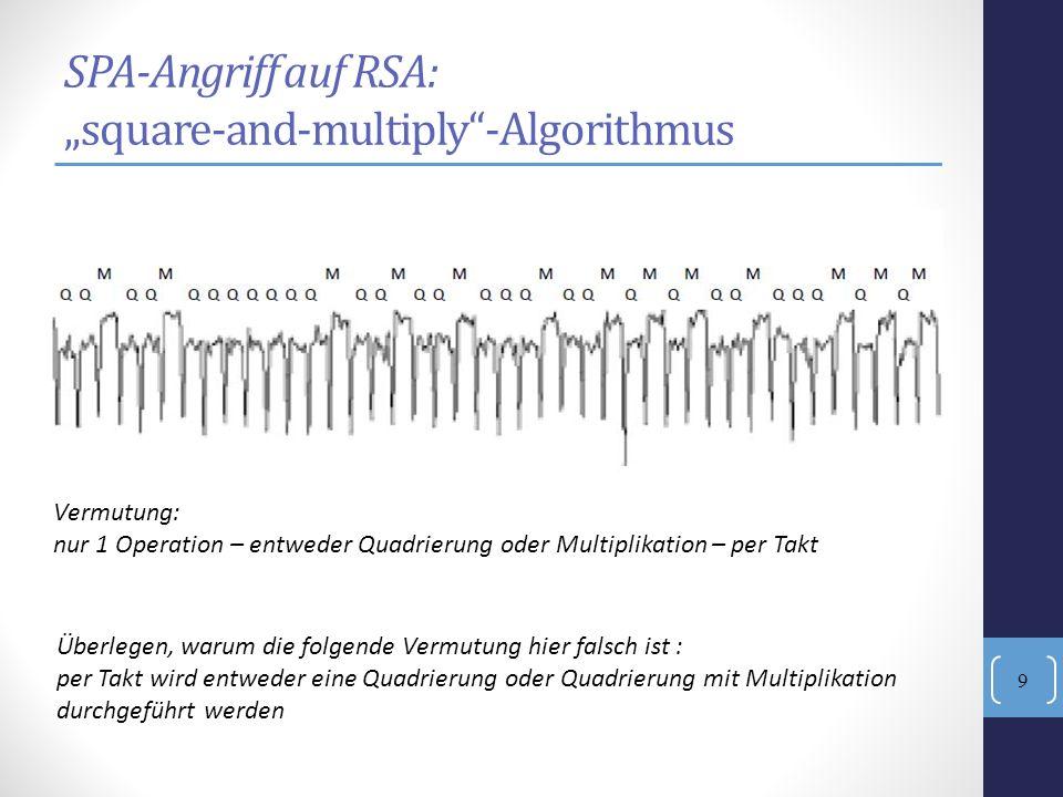 SPA-Angriff auf RSA: square-and-multiply-Algorithmus Vermutung: nur 1 Operation – entweder Quadrierung oder Multiplikation – per Takt Überlegen, warum