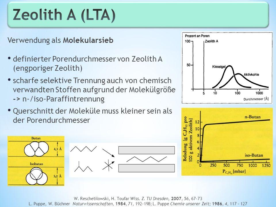 W. Reschetilowski, H. Toufar Wiss. Z. TU Dresden, 2007, 56, 67-73 L. Puppe, W. Büchner Naturwissenschaften, 1984, 71, 192-198; L. Puppe Chemie unserer