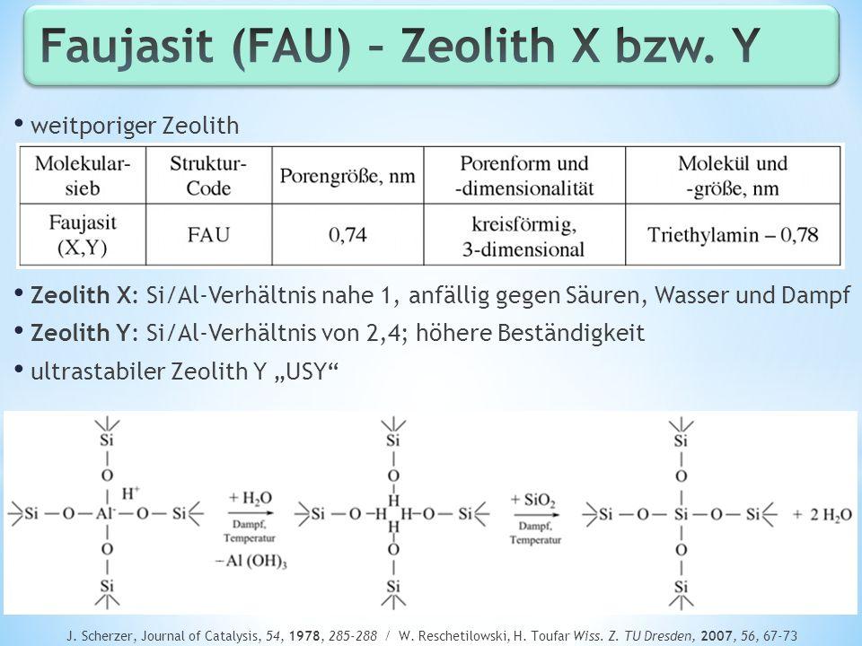 weitporiger Zeolith Zeolith X: Si/Al-Verhältnis nahe 1, anfällig gegen Säuren, Wasser und Dampf Zeolith Y: Si/Al-Verhältnis von 2,4; höhere Beständigk