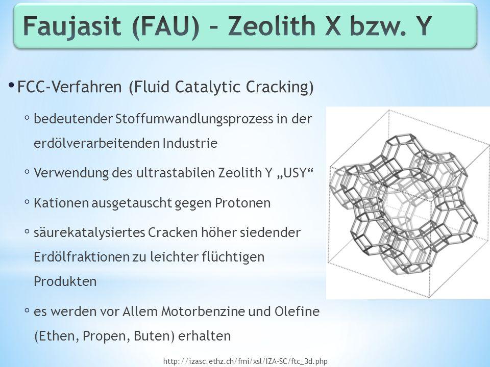 FCC-Verfahren (Fluid Catalytic Cracking) bedeutender Stoffumwandlungsprozess in der erdölverarbeitenden Industrie Verwendung des ultrastabilen Zeolith