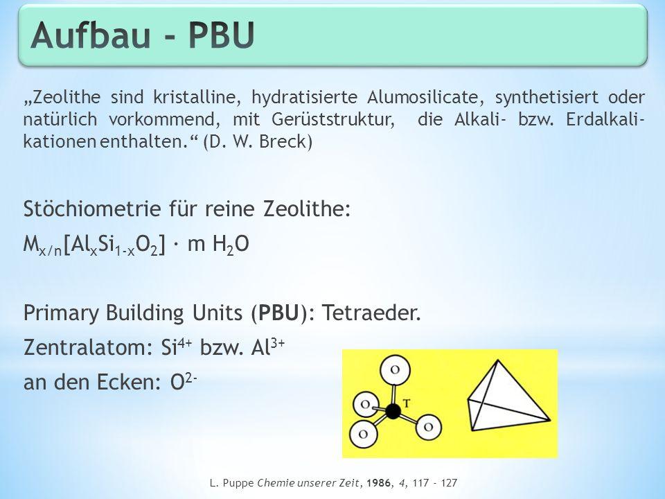 Zeolithe sind kristalline, hydratisierte Alumosilicate, synthetisiert oder natürlich vorkommend, mit Gerüststruktur, die Alkali- bzw. Erdalkali- katio