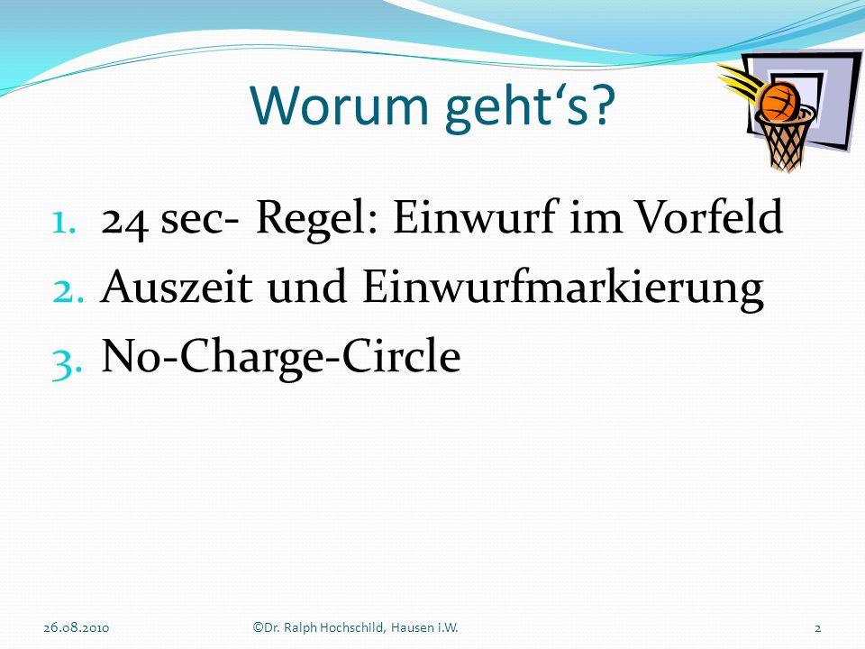 1. 24 sec- Regel: Einwurf im Vorfeld 2. Auszeit und Einwurfmarkierung 3. No-Charge-Circle Worum gehts? 2©Dr. Ralph Hochschild, Hausen i.W.26.08.2010