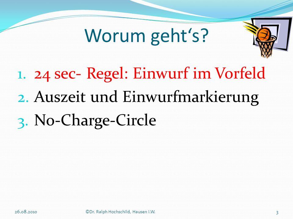 1. 24 sec- Regel: Einwurf im Vorfeld 2. Auszeit und Einwurfmarkierung 3. No-Charge-Circle Worum gehts? 3©Dr. Ralph Hochschild, Hausen i.W.26.08.2010