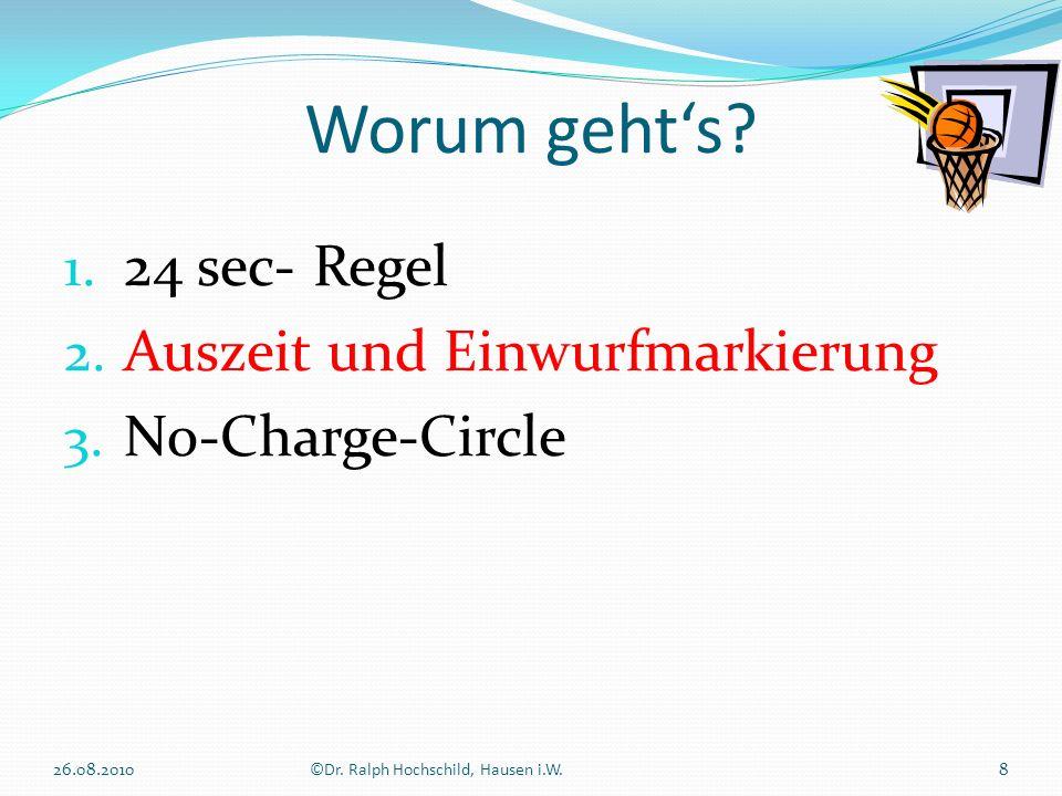 1. 24 sec- Regel 2. Auszeit und Einwurfmarkierung 3. No-Charge-Circle Worum gehts? 8©Dr. Ralph Hochschild, Hausen i.W.26.08.2010