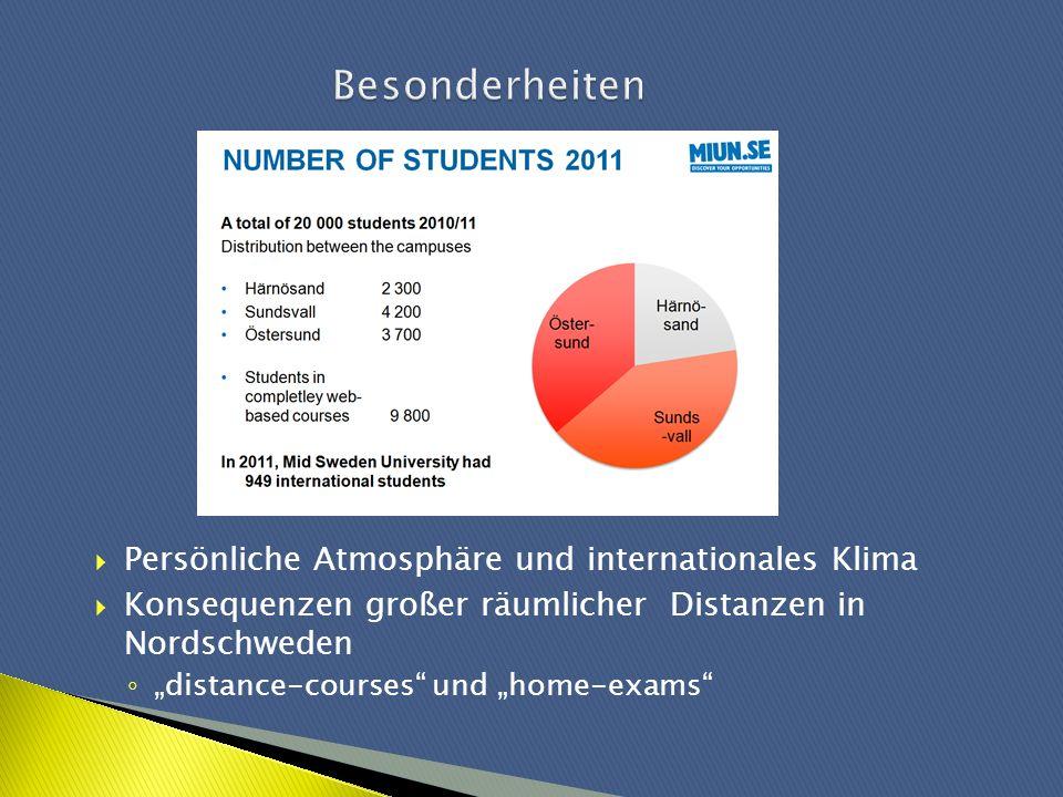 Persönliche Atmosphäre und internationales Klima Konsequenzen großer räumlicher Distanzen in Nordschweden distance-courses und home-exams