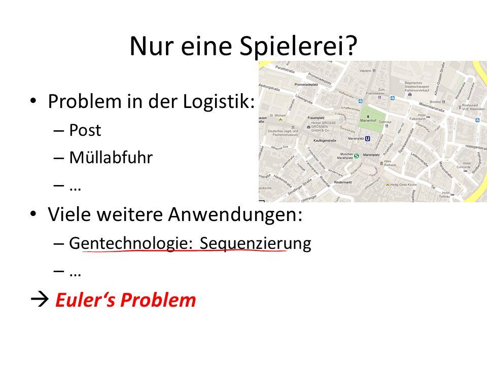 Nur eine Spielerei? Problem in der Logistik: – Post – Müllabfuhr –…–… Viele weitere Anwendungen: – Gentechnologie: Sequenzierung –…–… Eulers Problem