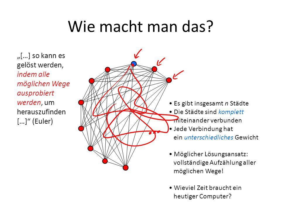 Wie macht man das? […] so kann es gelöst werden, indem alle möglichen Wege ausprobiert werden, um herauszufinden […] (Euler) … Es gibt insgesamt n Stä