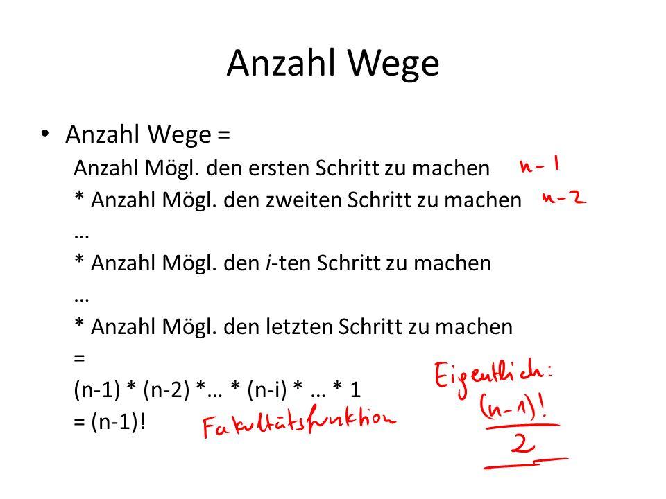 Anzahl Wege Anzahl Wege = Anzahl Mögl. den ersten Schritt zu machen * Anzahl Mögl. den zweiten Schritt zu machen … * Anzahl Mögl. den i-ten Schritt zu