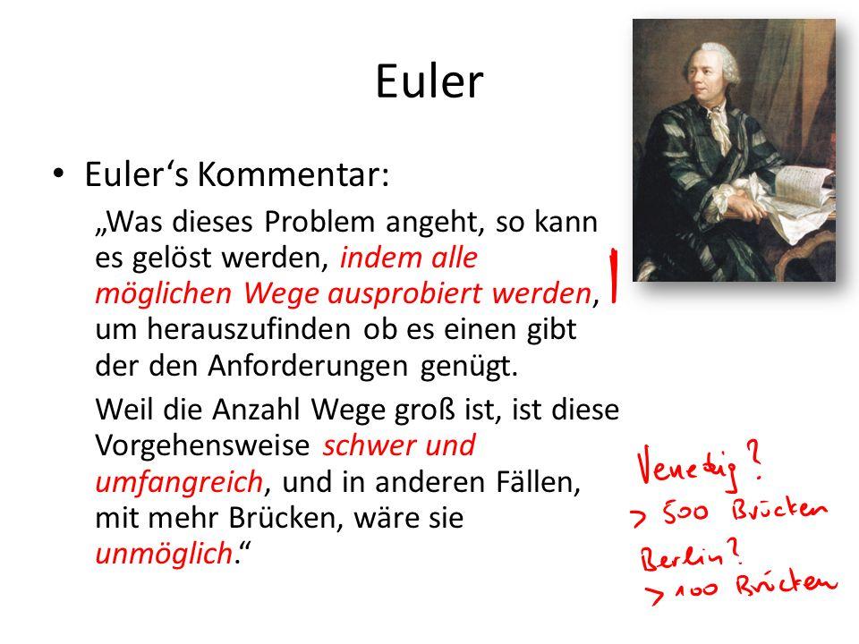Euler Eulers Kommentar: Was dieses Problem angeht, so kann es gelöst werden, indem alle möglichen Wege ausprobiert werden, um herauszufinden ob es einen gibt der den Anforderungen genügt.